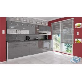 Kuchyňská linka Atractive šedá vysoký lesk 260cm - FALCO