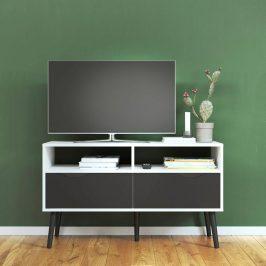 Retro TV stolek Oslo 75383 bílý/černý mat - TVI