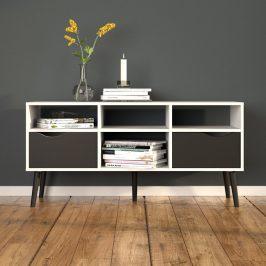 Retro televizní stolek Oslo 75391 bílá/černý mat - TVI