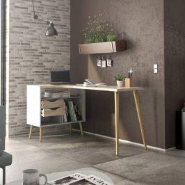 Retro psací stůl Oslo 75450 bílý/struktura dubu - TVI