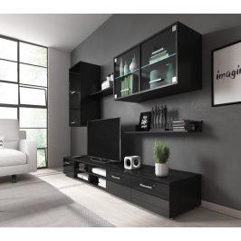 Obývací stěna Karolína černý lesk+LED - FALCO