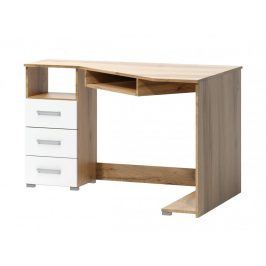 Rohový psací stůl Arta levý dub wotan/bílá - FALCO