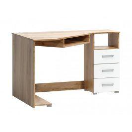Rohový psací stůl Arta pravý dub wotan/bílá - FALCO