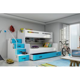 Patrová postel Max 3 x matrací PUR modrá - BMS