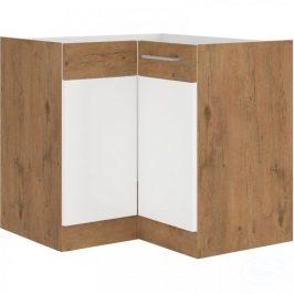 Kuchyňská dolní rohová skříňka Vigo 89x89DN dub lancelot/bílý lesk - FALCO