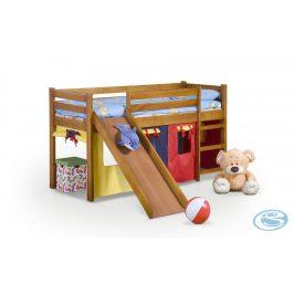 Dětská postel Neo Plus olše se skluzavkou - HALMAR