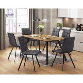 Jídelní stůl BERGEN dub + 6 židlí BERGEN šedé mikrovlákno