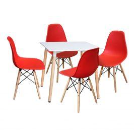 Jídelní stůl 80x80 UNO bílý + 4 židle UNO červené