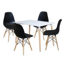 Jídelní stůl 120x80 UNO bílý + 4 židle UNO černé Jídelní sety
