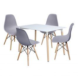 Jídelní stůl 120x80 UNO bílý + 4 židle UNO šedé Jídelní sety