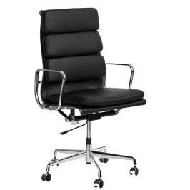 Culty Černá kožená kancelářská židle Soft Pad Group 219