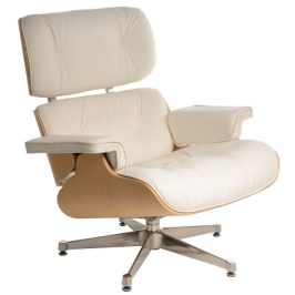 Culty Bílé kožené křeslo v dubovém provedení Lounge chair