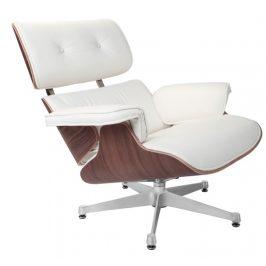 Culty Bílé kožené křeslo v ořechovém provedení Lounge chair