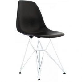 Culty Černá plastová židle DSR  s chromovanou podnoží