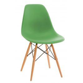 Culty Zelená plastová židle DSW s bukovou podnoží