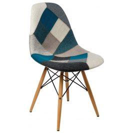 Culty Modrošedá celočalouněná židle DSW v provedení patchwork