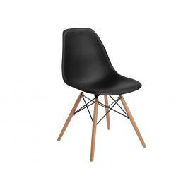 Culty Černá plastová židle DSW s bukovou podnoží