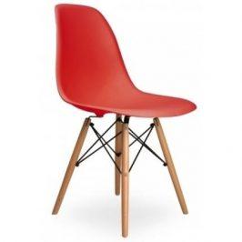 Culty Červená plastová židle DSW s bukovou podnoží Židle do kuchyně