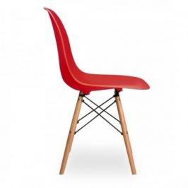Culty Červená plastová židle DSW s bukovou podnoží