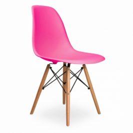 Culty Růžová plastová židle DSW s bukovou podnoží