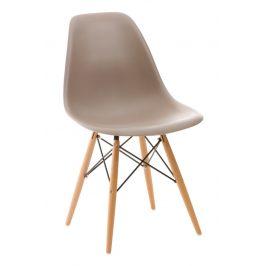 Culty Plastová židle DSW s bukovou podnoží v provedení cappuccino
