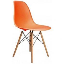 Culty Oranžová plastová židle DSW s bukovou podnoží