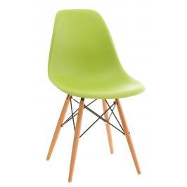 Culty Světle zelená plastová židle DSW s bukovou podnoží