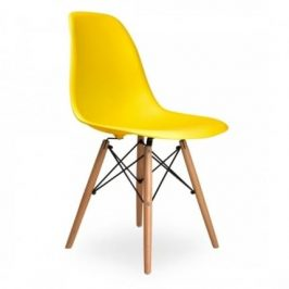 Culty Žlutá plastová židle DSW s bukovou podnoží