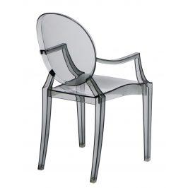 Culty Šedá transparentní židle Ghost s područkami