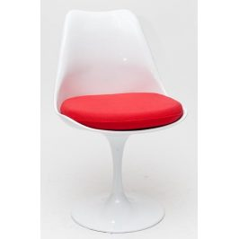 Culty Bílá otočná židle Tulip s červeným sedákem