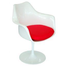 Culty Bílé designové křeslo Tulip s červeným sedákem