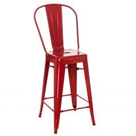 Culty Červená kovová barová židle Tolix