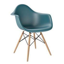 Culty Plastová židle DAW v barvě ocean s bukovou podnoží