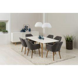 SCANDI Tmavě šedá látková jídelní židle s područkami Milla