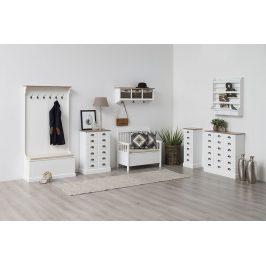 SCANDI Bílá lavice Antik s úložným prostorem