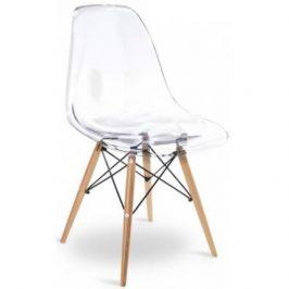 Culty Transparentní plastová židle DSW s bukovou podnoží Židle do kuchyně