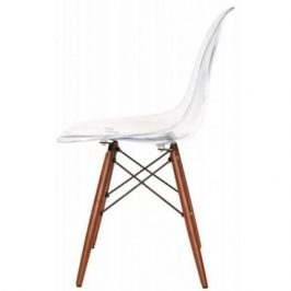 Culty Transparentní plastová židle DSW s bukovou podnoží