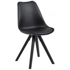 SCANDI Černá plastová jídelní židle Damian s černou podnoží