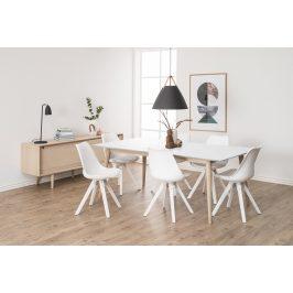 SCANDI Bílá plastová jídelní židle Damian s bílou podnoží