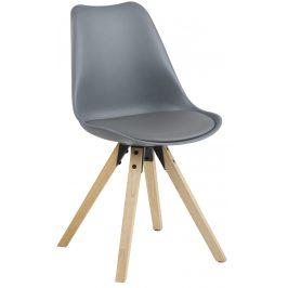 SCANDI Šedá plastová jídelní židle Damian s přírodní podnoží