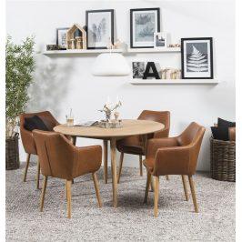 SCANDI Hnědá čalouněná židle Marte s područkami