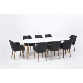 SCANDI Černá čalouněná židle Marte s područkami
