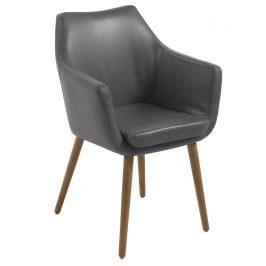 SCANDI Šedá čalouněná židle Marte s područkami