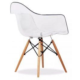Culty Transparentní plastová židle DAW s přírodní bukovou podnoží