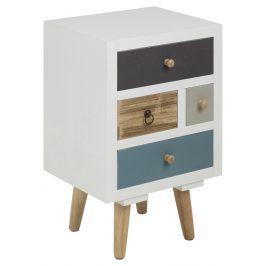 SCANDI Bílý noční stolek Thess 59 cm s barevnými zásuvkami