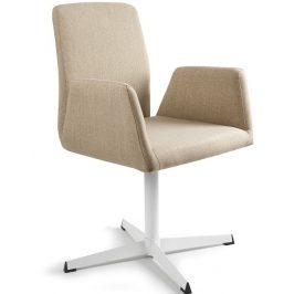 OfficeLab Béžová konferenční židle Bela s pevnou kovovou základnou