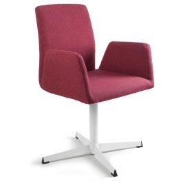 OfficeLab Červená konferenční židle Bela s pevnou kovovou základnou Židle do kuchyně
