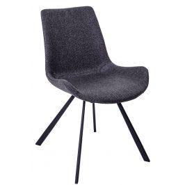 Culty Tmavě šedá polstrovaná židle Skip s kovovou podnoží