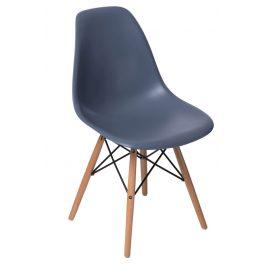 Culty Tmavě šedá plastová židle DSW s bukovou podnoží