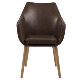 SCANDI Čokoládová koženková židle Marte s područkami